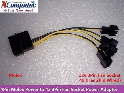 4Pin Molex LP4 Power to Two 4x 3Pin Case Cooling Fan Converter Adapter 12V 10cm