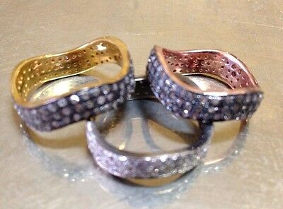 Set 3 Piece Stacking Rings Pave Rose Cut Diamond, Yellow Rose Gold Silver Sz 6.5