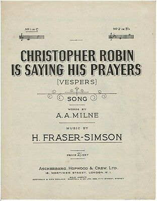 Christopher Robin Is Saying His Prayers (Vespers) - Sheet Music Book Piano Vocal