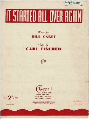 It Started All Over Again - 1942 Australian Sheet Music Book Piano Vocal Guitar