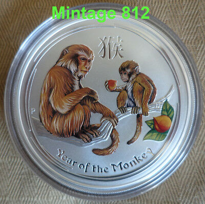 "5 oz colorized Lunar II silver coin 2016 Year of the Monkey "" very rare """