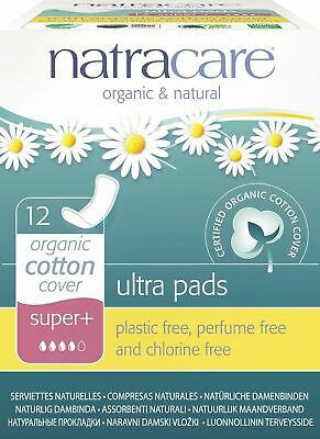 Natracare Natural Ultra Pads Organic Cotton Cover Super Plus, 12 Ct (Pack Of 3)