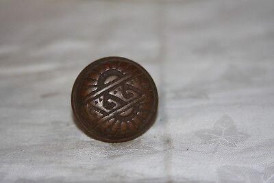 "Antique Solid Bronze Door Knob Eastlake 1 3/8"" Round"
