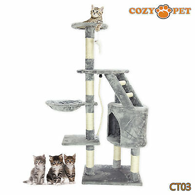 Cozy Pet Deluxe Cat Tree Sisal Scratching Post Quality Cat Trees - CT03-Grey