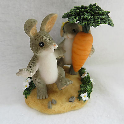 Charming Tails Please Don't Get My Hare Wet 89206 Bunny Rabbits Fitz & Floyd New