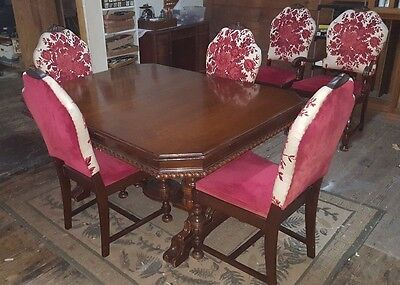 Vintage MOUNT AIRY Dining Table Set w 6 Floral Chairs & Roll Away Leaf PRETTY