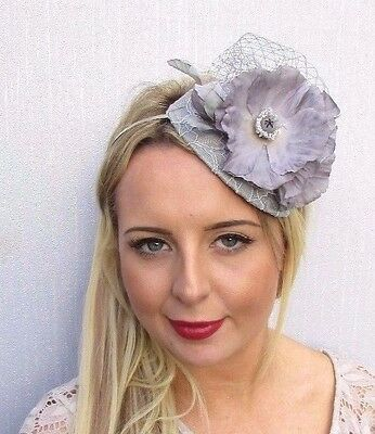 Grey Flower Fascinator Wedding Races Net Headband Teardrop Headpiece Hat 3522