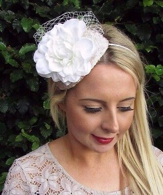 Champagne Ivory Cream Flower Fascinator Wedding Races Net Headband Teardrop 3523