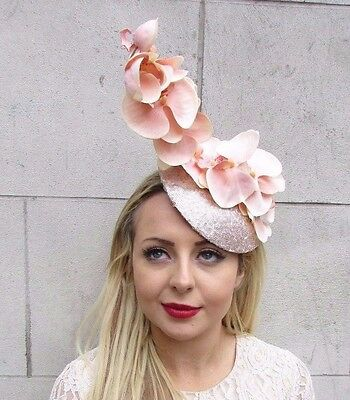 Large Blush Pink Champagne Orchid Flower Fascinator Hat Races Pillbox Hair 3524