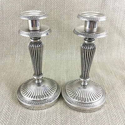 Pair Antique Silver Plated  Candlesticks French Malmaison pattern