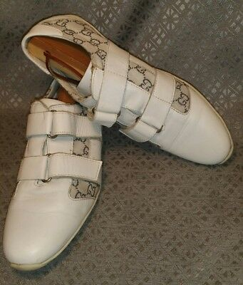 87c7921fb GUCCI GG MONOGRAM White Velcro Canvas Leather Italy Sneakers US 6.5M ...