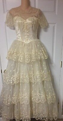 VTG Wedding Dress 1950's Lace Tiered S/S Cupcake Ivory Dress Gown SZ XS