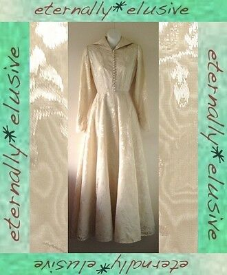Original Vintage 1940s WW2 Cream Brocade Taffeta Wedding Dress Gown Size 6 8 W26