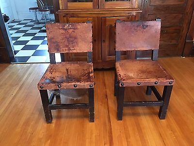 Set of Two California Spanish Mission Early 20th Century Leather Chairs