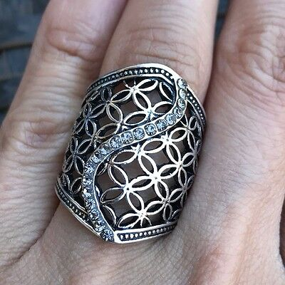 Hollow Fashion Vintage Antique Style Ring Silver Plated