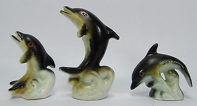 vintage miniature Bone China Dolphin Fish Figurines Family set of 3