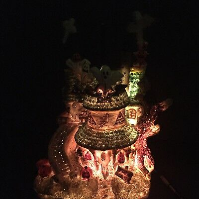 PULEO CO Halloween Fiber Optic Lighted Haunted House With Pumpkins Ghosts