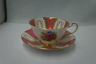 Paragon Gold and Pink Tea Cup and Saucer