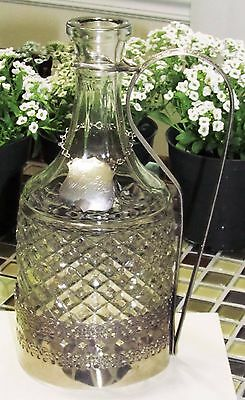 Vintage English Glass Decanter with Silver Plated Stand & Whiskey Decanter Label