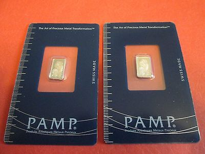 Lot of two consecutive 1 gram Pamp Suisse Platinum Bars In Assays. 2