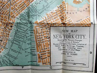 NYC Rare 1901 Blanchard Hobbs lg Vest Pocket folding Map New York City Manhattan