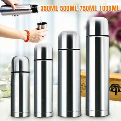 Stainless Steel Vacuum Thermos Bullet Flask Cup Hot & Cold 350/500/750/1000ml