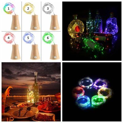 Solar Wine Bottle Cork Shape Lights 10 LED Night Fairy String Light Lamp Xmas