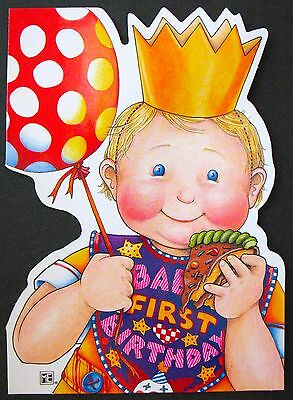 UNUSED 1997 Mary ENGELBREIT BIRTHDAY Card BABY'S FIRST BIRTHDAY, DIE-CUT, +env