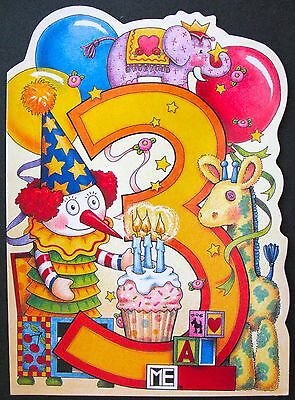UNUSED 1997 Mary ENGELBREIT BIRTHDAY Card AGE 3, CLOWN & GIRAFFE, DIE-CUT, +env