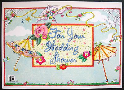 UNUSED 1997 Mary ENGELBREIT WEDDING SHOWER Card UMBRELLAS, PARASOLS +env
