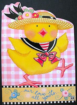 UNUSED 1999 Mary ENGELBREIT BIRTHDAY Greeting Card FROLIC CHICK, DIE-CUT, +env