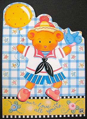 UNUSED 1999 Mary ENGELBREIT BIRTHDAY Greeting Card FROLIC BEAR, DIE-CUT, +env