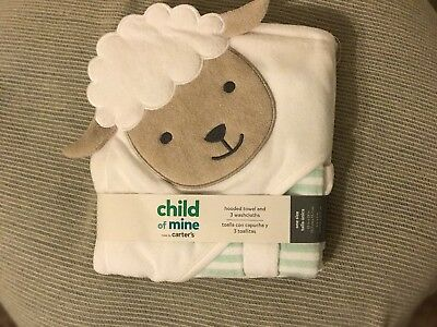 NEW/NWT Carters Child of Mine Hooded Baby Towel+3 Washcloth Set/White Lamb/Sheep