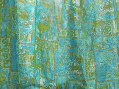 "Blue & Green TOILE Sheer Polyester Blend  SOPTRA Fabrics   3 yds x 42""w."