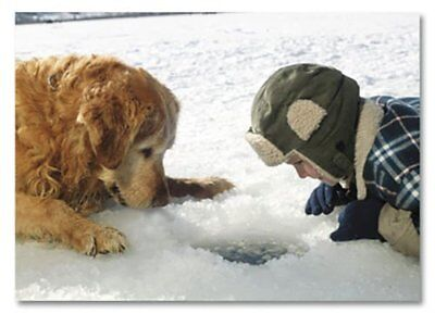 Golden Retriever Dog & Boy Looking into Ice Fishing Hole (12) Christmas Cards