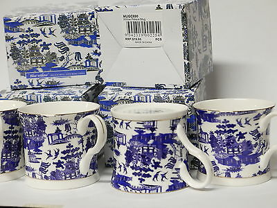 Palace Mug Fine Bone China Stoke-On-Trent Set of 4 Blue Willow - Blue and White