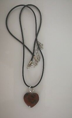 Code 602 Mahogany Obsidian Angel Heart on a black leather like cord necklace