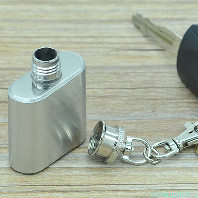 Pocket Hip Flask With Key Ring Keychain 1Oz Stainless Steel Liquor Storage QJD6