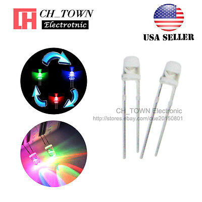 100pcs 3mm Transparent Fast Rainbow Flash Water Clear RGB flashing LED Diodes