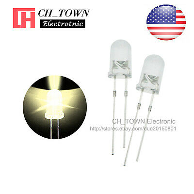 100pcs 5mm LED Diodes Water Clear Warm White Light Transparent Round Top USA