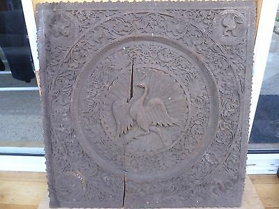 VINTAGE OLD LARGE SIZE ASIAN TIMBER WALL CARVING, CARVED WOOD 620X640mm (F267)