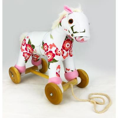 NEW Wooden & Plush Pull Along Pony Horse with Sound - Floral