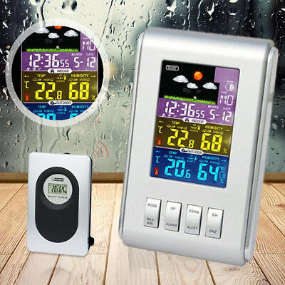 Weather Station Clock Wireless LCD Digital Thermometer Hygrometer Indoor Outdoor