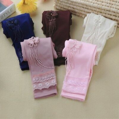 Baby Kids Lace Flower Pattern Girls Leggings Tight Pants Stretchy Trousers 2-7Y
