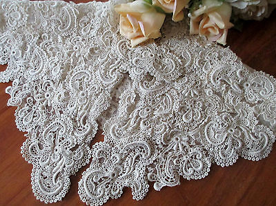SUPERB LG Antique Vtg EDWARDIAN SCHIFFLI GUIPURE LACE WEDDING COLLAR