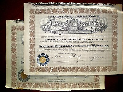 Minas del Rif,Share certificate 1928  Spain  x 2      Good