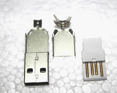 10 X Type A Rewireable USB Plug Connector 4 Pin Male 3 in 1 Kit Cable Lead