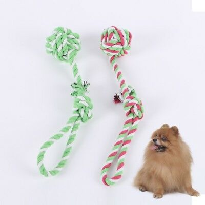 Pet Play Biting Rope Chew Toy With Knot Puppy Dog Cat Ball Tug War Teeth Clean