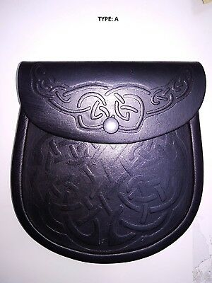 Scottish Black Front Embossed Leather Sporran With Free Belt