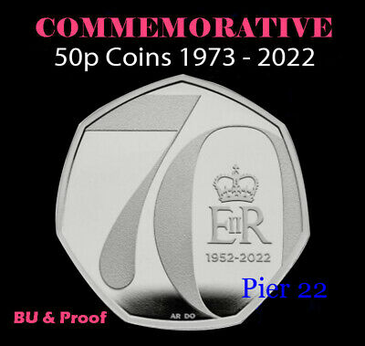 UK 50p Fifty Pence Commemorative Coins / Coin Hunt PROOF & BU etc - 1973-2020